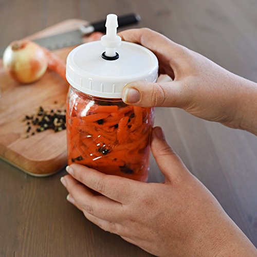 Fermenting Lids for Wide Mouth Mason Jars. Fermentation Kit for Sauerkraut, Pickles, Kimchi, and other Fermented Foods. Waterless Airlocks: No Pumps or Crock Pots Needed. Made in USA-8 Pack.