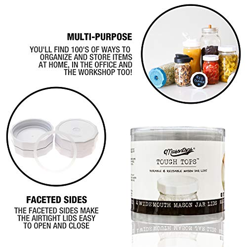 Masontops Tough Tops - Wide Mouth Mason Jar Lid - White - BPA-Free Plastic Screw Caps - Reusable Airtight Storage Covers