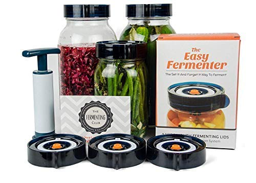Easy Fermenter Fermentation Lids Kit - Wide Mouth Fermenting Lid 3-Pack (Jars Not Included) - Make Sauerkraut, Kimchi, Pickles, Fermented Vegetable - Ideal Gift for Thanksgiving, Christmas