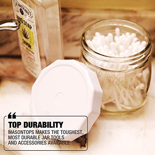 Masontops Tough Tops - Wide Mouth Mason Jar Lid - White - BPA-Free Plastic Screw Caps - Reusable Airtight Storage Covers