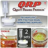2 QRP No Messy Overflow No Weights Needed Anaerobic Mason Jar Fermentation Kits with Exclusive Food Retainer Cups keep food submerged in brine (2 WIDE MOUTH)