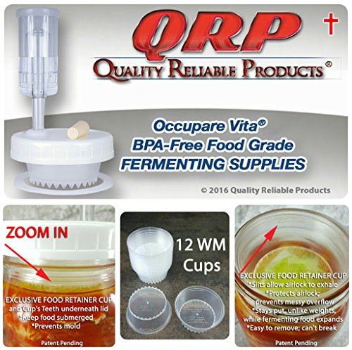 BETTER than Glass Fermentation Weights - Food Grade Plastic Mason Jar Food Fermentation Weights CUPS keep food submerged in brine (12-3' WIDE MOUTH CUPS ONLY, NOT KITS)