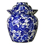 TransSino Treasures 10' Blue and White Porcelain Pickling Jar with 2 Lids