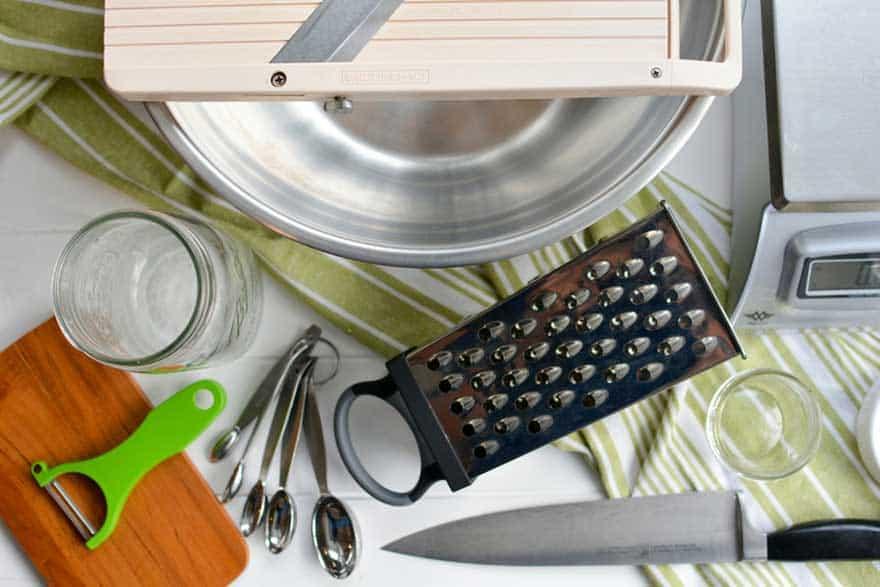 Sauerkraut making equipment: bowl, knife, scale, jars and grater. | makesauerkraut.com
