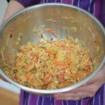 Kimchi Style Sauerkraut Recipe - Sauerkraut mixture brined and ready to be packed into a jar.   makesauerkraut.com