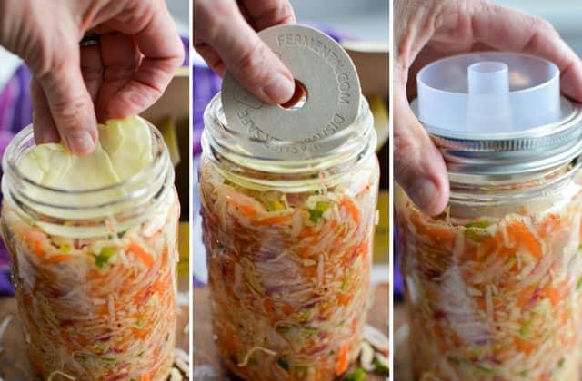Kimchi Style Sauerkraut Recipe - Add a floaties trap, weight and lid. | makesauerkraut.com