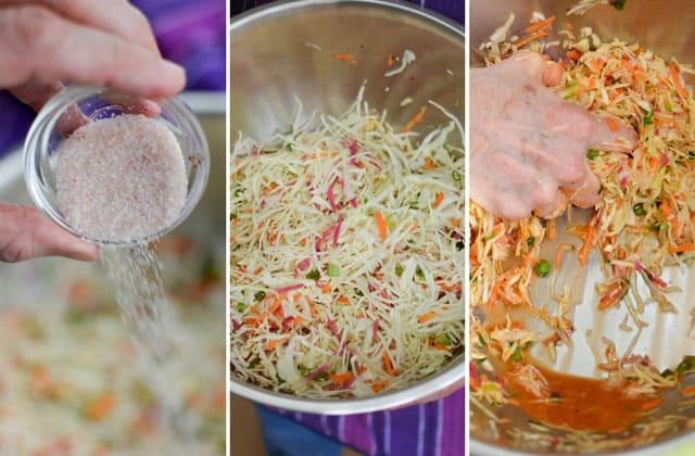Kimchi Style Sauerkraut Recipe - Sprinkle prepared vegetables & cabbage with salt and mix well to form your brine. | makesauerkraut.com