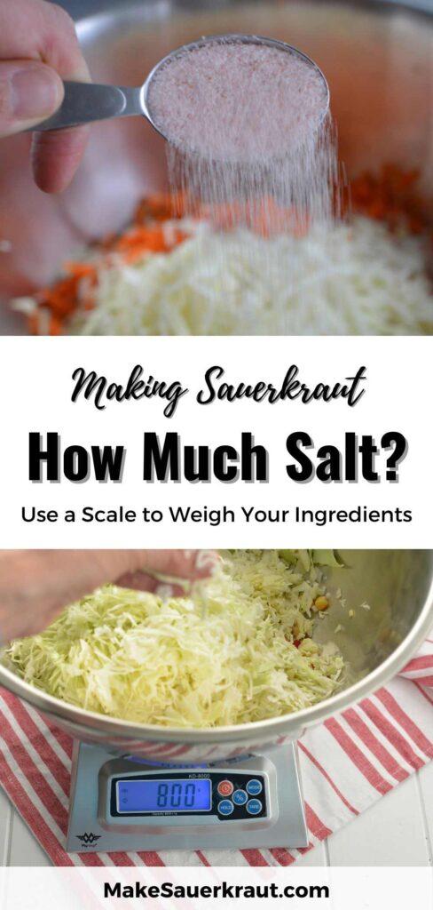 Using a scale to weigh sauerkraut ingredients. | MakeSauerkraut.com