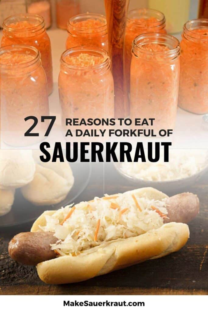 27 Reasons to Eat a daily Forkful of Sauekraut; Sauerkraut as hotdog sandwich topping