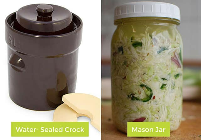Water-sealed crock and mason jar for fermenting. | makesauerkraut.com