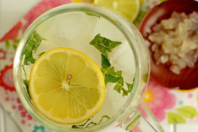 Fermented coconut water with lemon and mint for a refreshing drink. | makesauerkraut.com