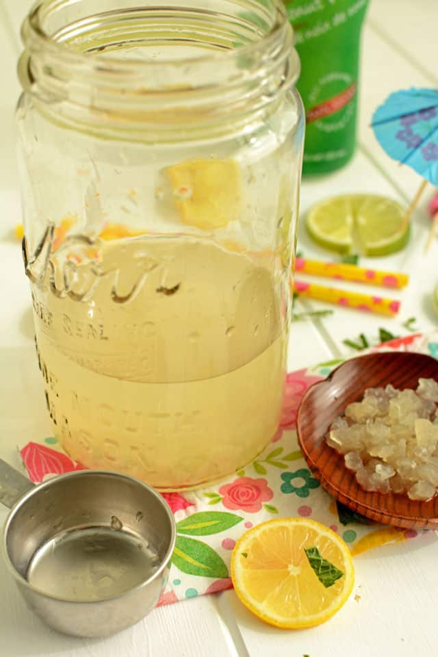 Using water kefir grains to ferment coconut water.