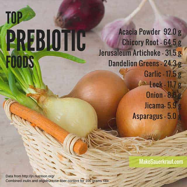 Including prebiotic foods in your daily diet are an easy way to improve your gut health. Learn the difference between prebioitcs and probiotics. | makesauerkraut.com