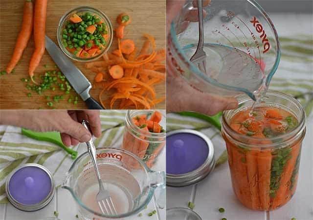 Getting ready to ferment carrot sticks with MasonTops Pickle Pipe Pebbles. | makesauerkraut.com