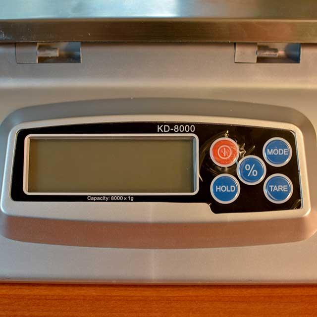 Close up of an off KD8000 My Weigh Digital Scale. | MakeSauerkraut.com