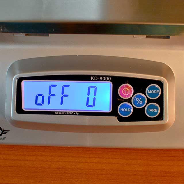 "Monitor of MyWeigh KD-8000 digital scale showing ""Off 0"". | MakeSauerkraut.com"
