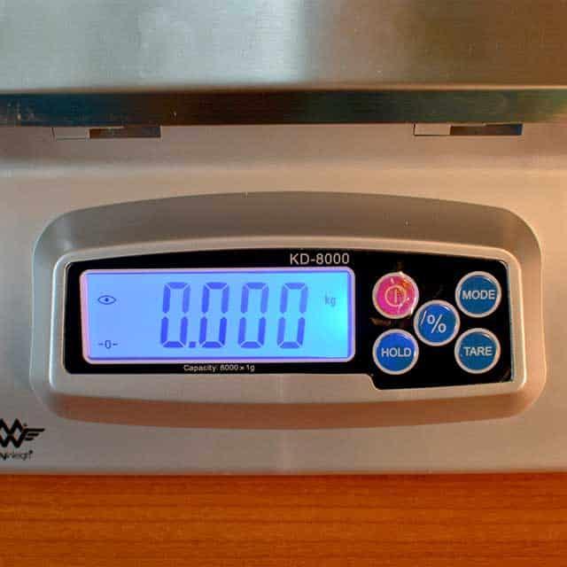 "Monitor of the MyWeigh KD-8000 digital scale showing ""0.000."" | MakeSauerkraut.com"