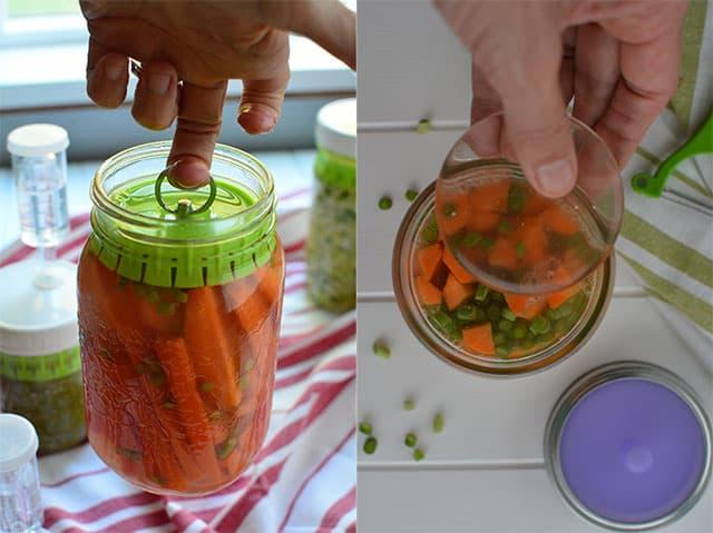 Holding your carrots sticks below the brine. | makesauerkraut.com