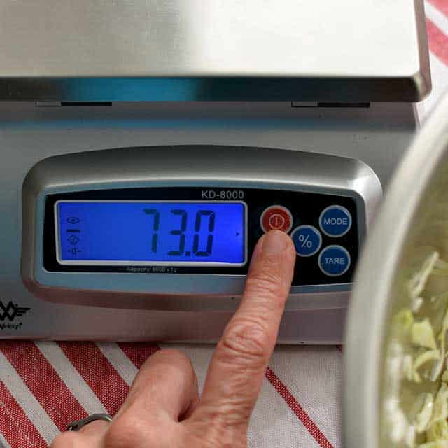 """Fingers pressing """"off/on"""" button on MyWeigh KD-8000 digital scale and the screen showing """"73.0"""". 
