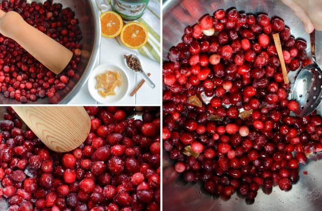Three images in a collage of cranberries in a metal bowl. Top left image shows cranberries in a metal bow with wooden  ladle on top of the pile and a small white bowl with ingredients, a white spoon with herbs, and two orange slices. Bottom left and right image are close up  of the cranberries inside the metal bowl. | Makesauerkraut.com