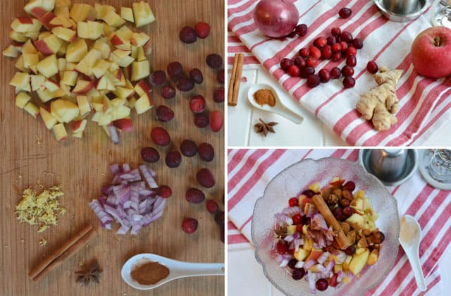 Three picture collage of ingredients for cranberry apple chutney, left image showing apples, cranberries, garlic, star anise, cinnamon stick, chopped onion, and spoon with herb powder, top right image showing the same ingredients over red cloth and bottom right image showing mixed ingredients inside glass bowl. | Makesauerkraut.com