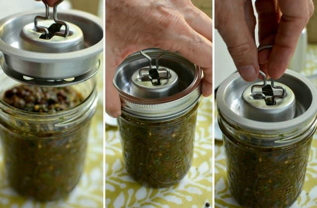 Packing a jar of raisin chutney for fermentation with the Kraut Source fermentation lid. | makesauerkraut.com