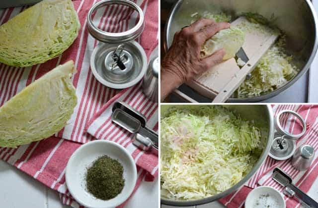 Prepping a batch of sauerkraut for fermenting with the Kraut Source fermentation lid. | makesauerkraut.com