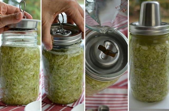 Sealing my jar of sauerkraut with the Kraut Source fermentation lid. | makesauerkraut.com