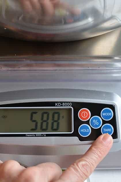 How to make sauerkraut in a jar; setting up your scale.   MakeSauerkraut.com