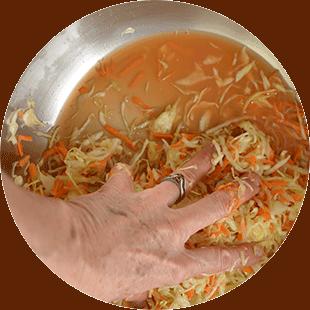 Creating the brine for your sauerkraut.   MakeSauerkraut.com