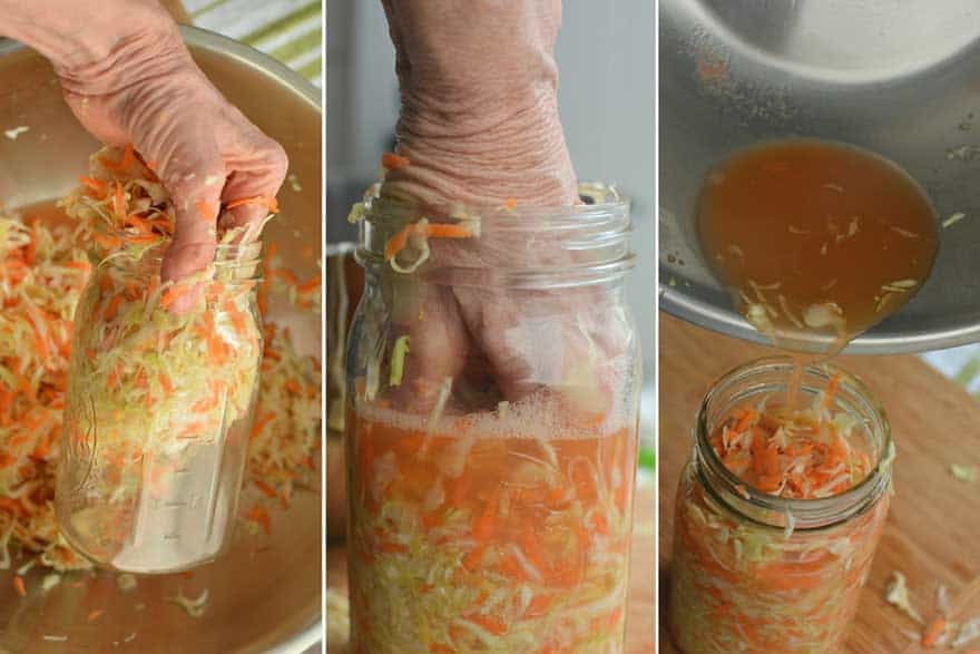 Grab handfuls of cabbage mixture and pack into jar. Pour in any extra brine. | MakeSauerkraut.com