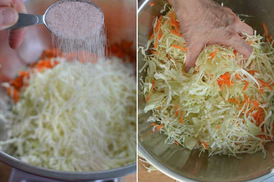 Sprinkle with salt and mix well. | MakeSauerkraut.com