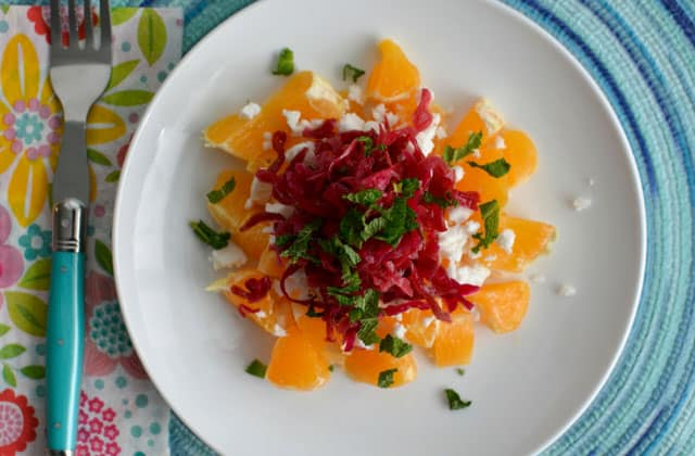 Passion Pink Sauerkraut adds color to this winter salad. | makesauerkraut.com