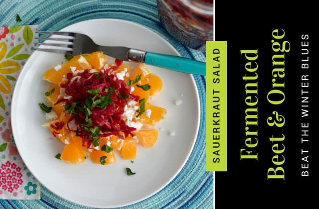 Beet sauerkraut and orange for a refreshing winter salad. | makesauerkraut.com