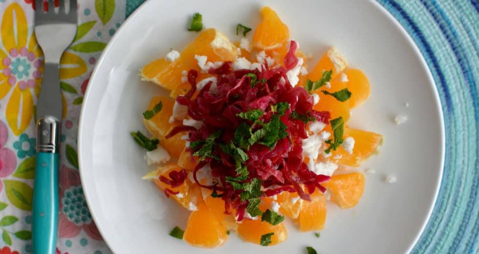 Beet sauerkraut and orange for a refreshing winter salad. | makesauerkraut.com