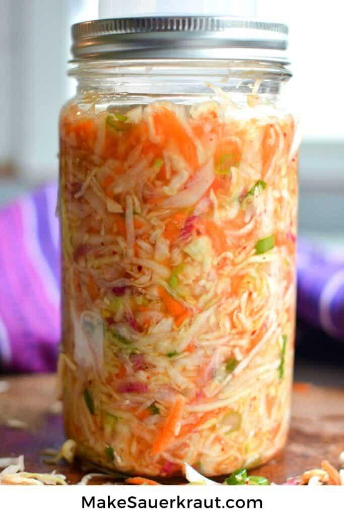 Jar of Kimchi Style Sauerkraut