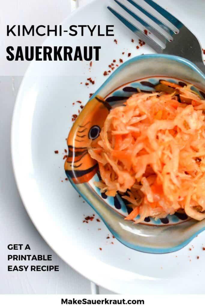 Bowl of Kimchi Style Sauerkraut