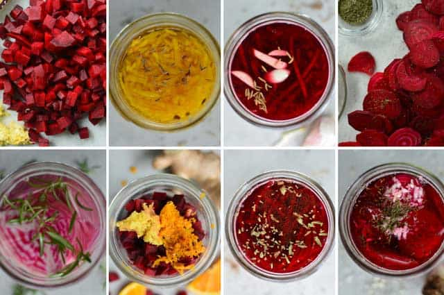 Top view of 8 fermented beets of different flavors in glass jars. | MakeSauerkraut.com