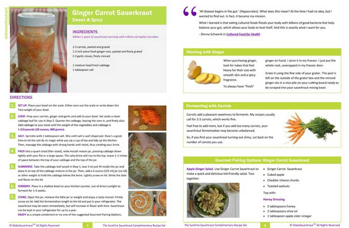 A beautiful PDF recipe for Ginger Carrot Sauerkraut. | makesauerkraut.com