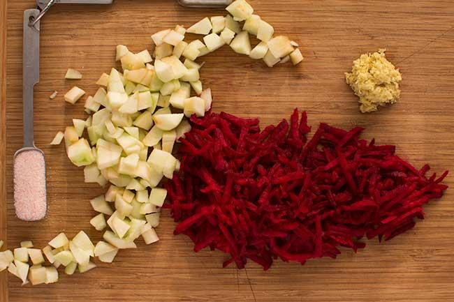Flavoring ingredients for Ruby-Red Red-Cabbage Sauerkraut. | makesauerkraut.com