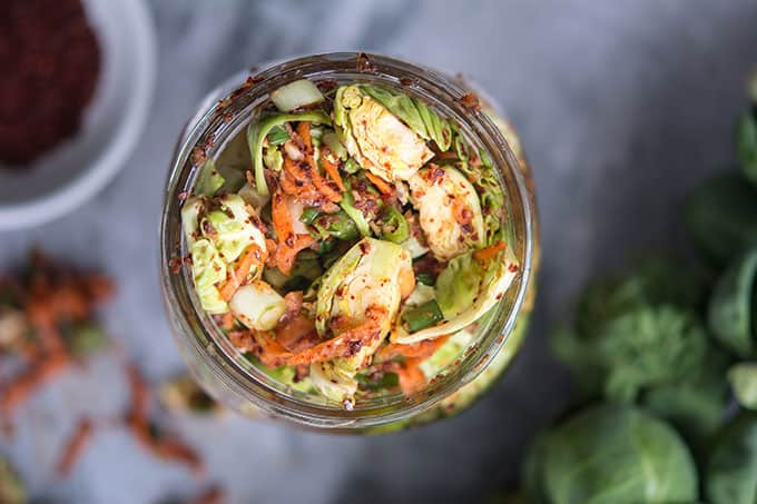 Brussels Sprout Kimchi recipe from WECK Small-Batch Preserrving. | makesauerkraut.com