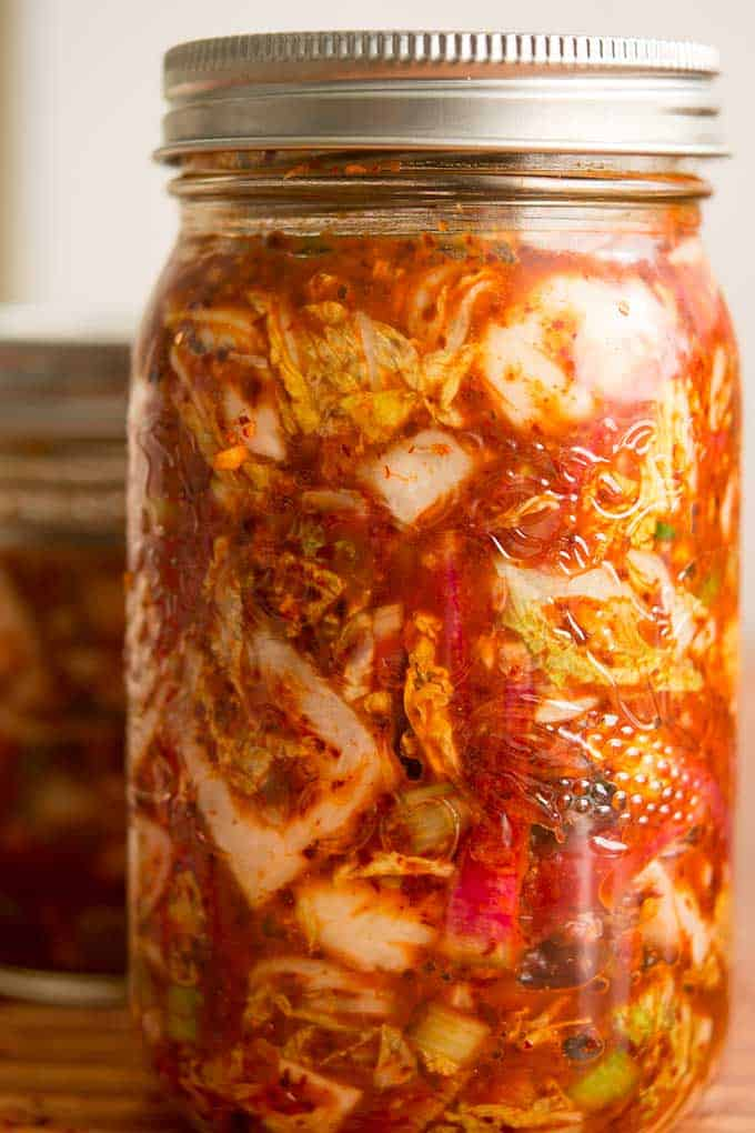 Making traditional square-cut kimchi (Mak Kimchi). Kimchi ready for fermentation. | Makesauerkraut.com