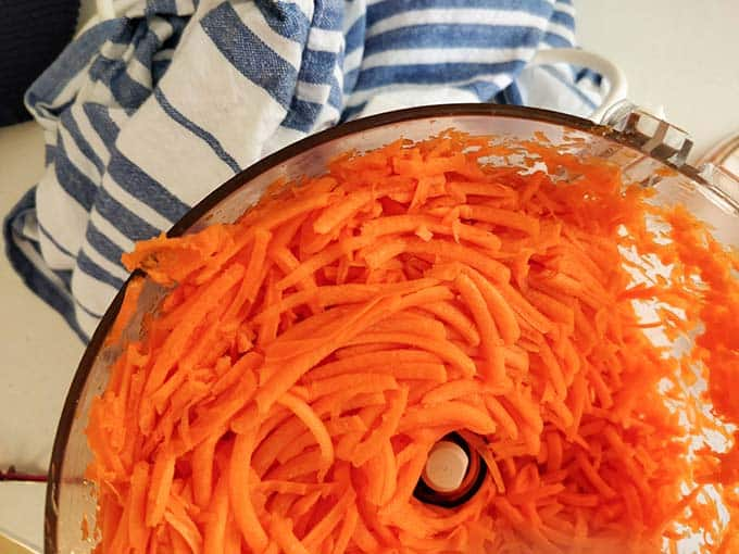 Shredded carrots for Carrot Kimchi. | MakeSauerkraut.com