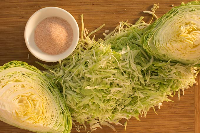 Sliced cabbage and salt. | MakeSauerkraut.com