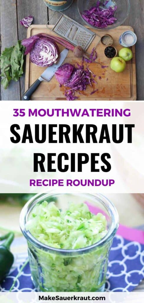 Red Cabbage being chopped on Chopping board and a jar of sauerkraut with jalapeno and cilantro, 35 Mouthwatering Sauerkraut recipes (recipe roundup)