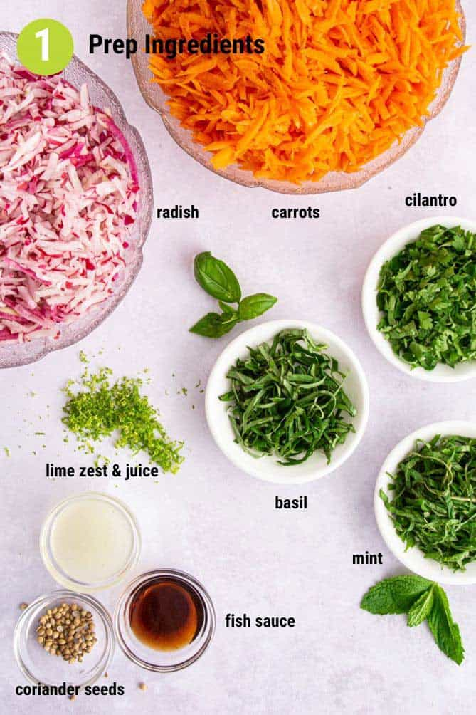 Various prepared vegetables and herbs in bowls on white background. | MakeSauerkraut.com