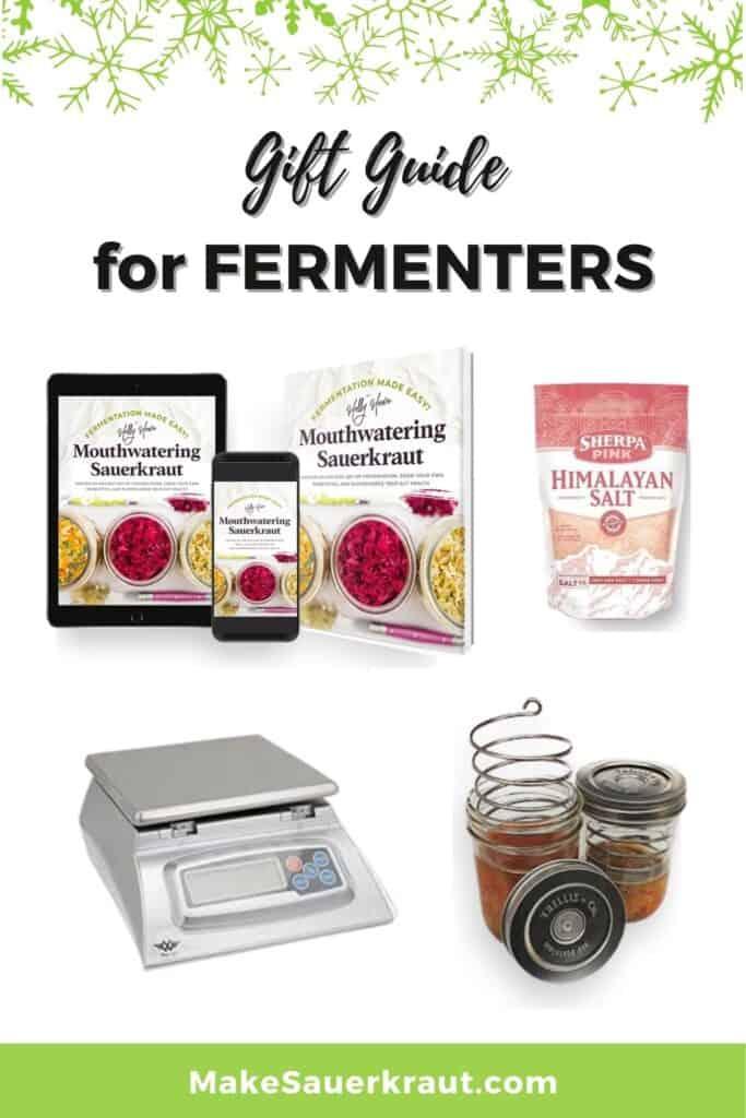 Fermentation Gift Guide: Mouthwatering Sauerkraut book, Himalayan Salt, Weighing Scale, Fermentation Weight, Crock
