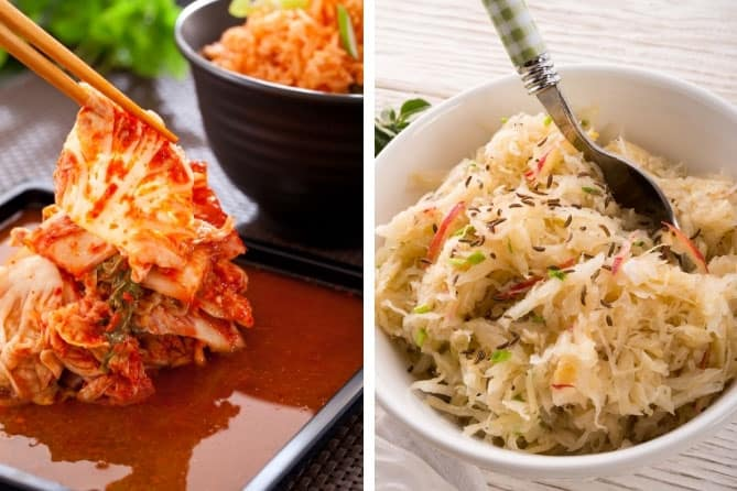 Serving of kimchi alongside a serving of sauerkraut. What are the differences between the two?