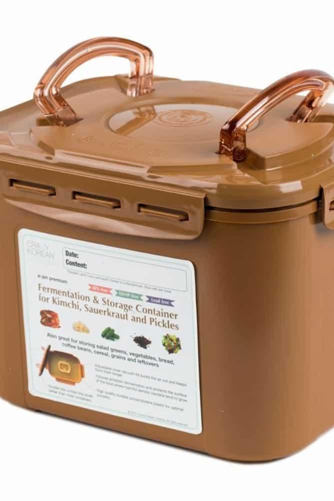 Brown, oblong plastic fermentation pot, with lid, for kimchi. | MakeSauerkraut.com
