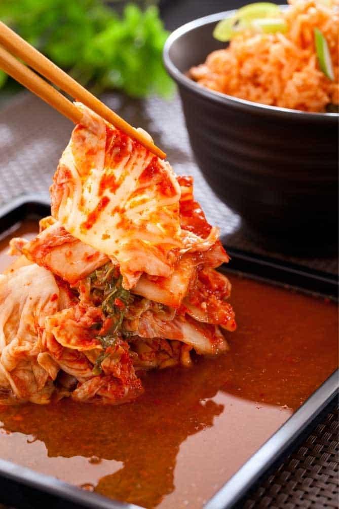 Serving of napa cabbage kimchi. | MakeSauerkraut.com